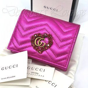 NIB GUCCI Marmont GG Pink Leather Wallet Card Case
